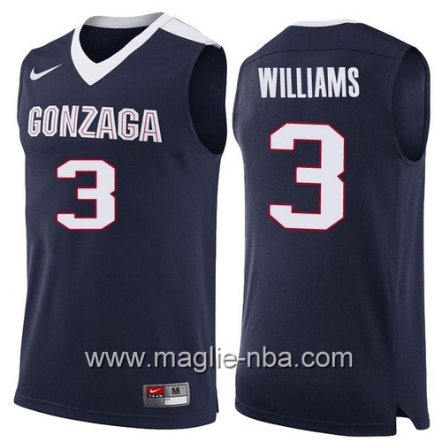 Canotte NCAA 2017 Final Four Gonzaga Bulldogs Johnathan Williams #3 blu marino
