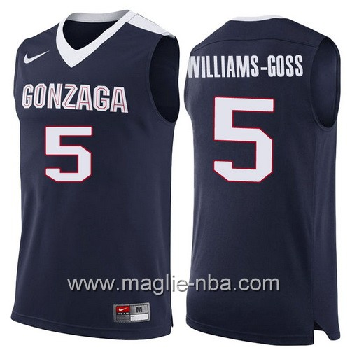 Canotte NCAA 2017 Final Four Gonzaga Bulldogs Nigel Williams-Goss #5 blu marino