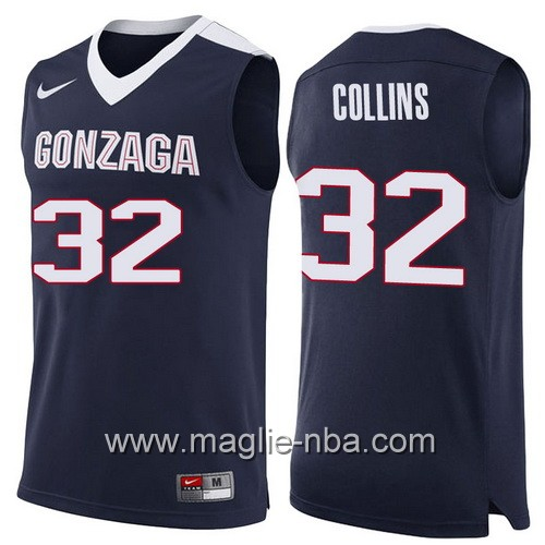 Canotte NCAA 2017 Final Four Gonzaga Bulldogs Zach Collins #32 blu marino