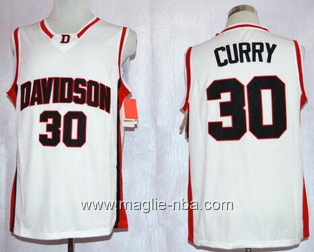 Canotte basket NCAA Davidson Wildcat Stephen Curry #30 bianco