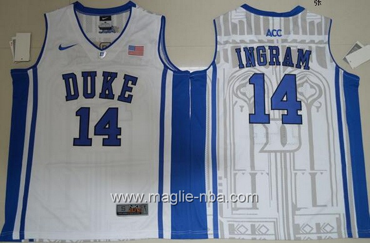 Canotte basket NCAA Duke Blue Brandon Ingram #14 bianco