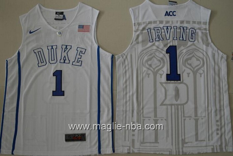 Canotte basket NCAA Duke Blue Kyrie Irving #1 bianco