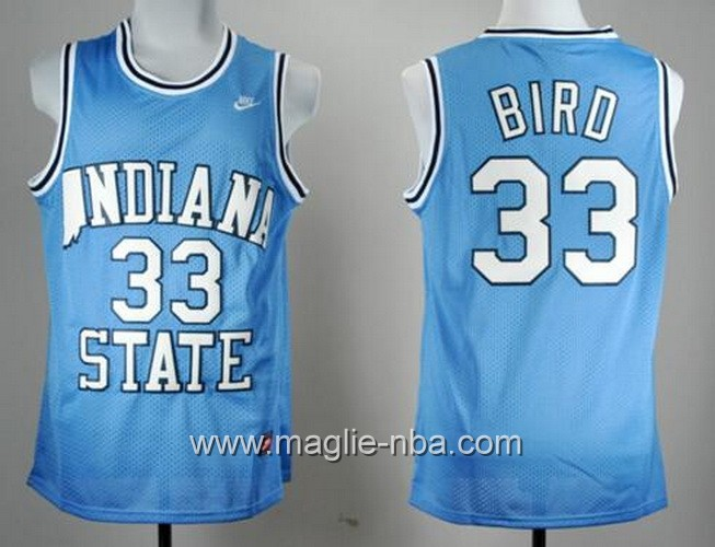 Canotte basket NCAA Indiana State Sycamores Larry Bird #33 blu