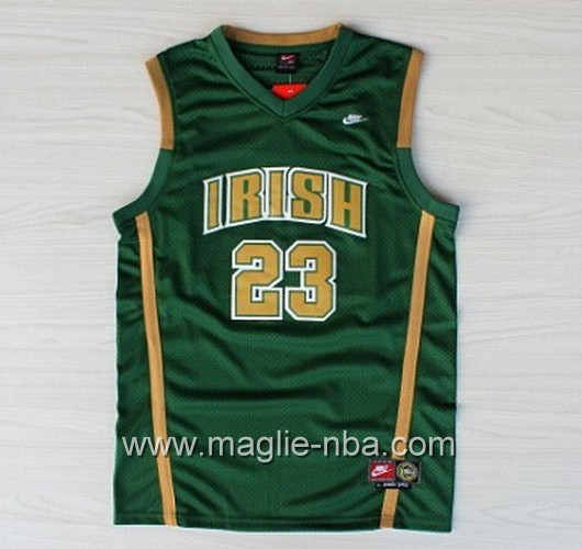 Maglia basket NCAA Irish LeBron James #23 verde