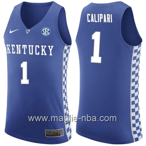Canotte basket NCAA Kentucky Wildcats John Calipari #1 blu