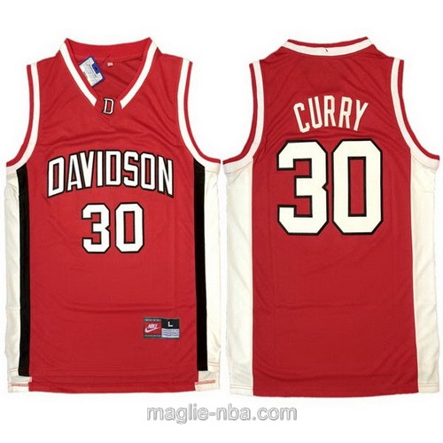 Canotte basket NCAA del Davidson #30 Stephen Curry rosso