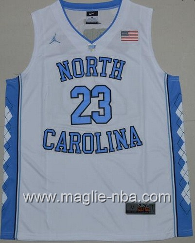 Canotte basket NCAA del North Carolina Tar Heels Michael Jordan #23 bianco
