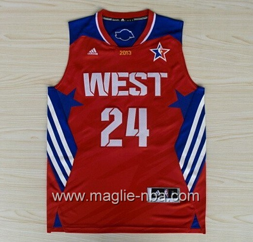 Canotte nba All Star Game 2013 West Kobe Bryant #24 rosso