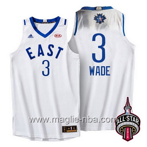 Canotte nba All Star Game 2016 East Dwyane Wade #3 bianco