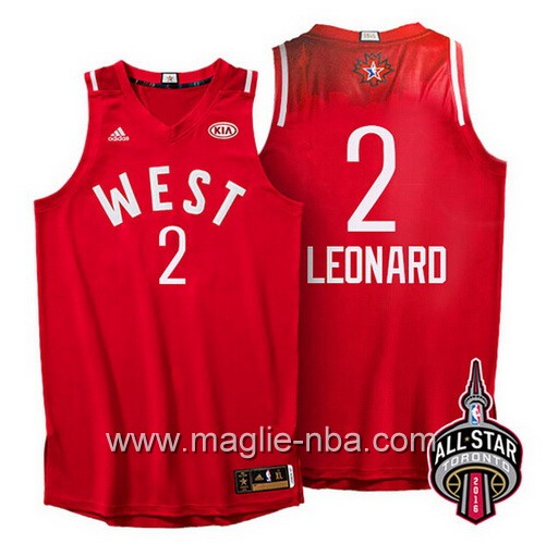 Canotte nba All Star Game 2016 West Kawhi Leonard #2 rosso