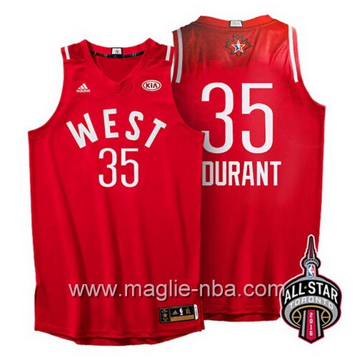 Canotte nba All Star Game 2016 West Kevin Durant #35 rosso