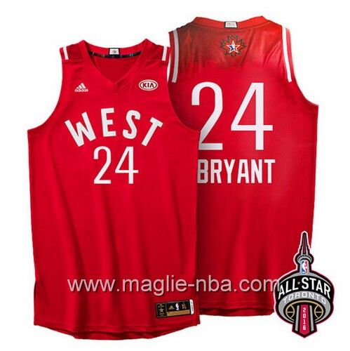 Canotte nba All Star Game 2016 West Kobe Bryant #24 rosso