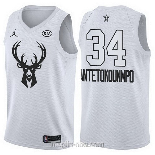 Canotte nba all star game 2018 Giannis Antetokounmpo #34 Milwaukee Bucks bianco