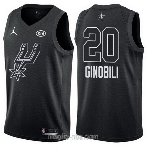 Canotte nba all star game 2018 Manu Ginobili #20 San Antonio Spurs nero