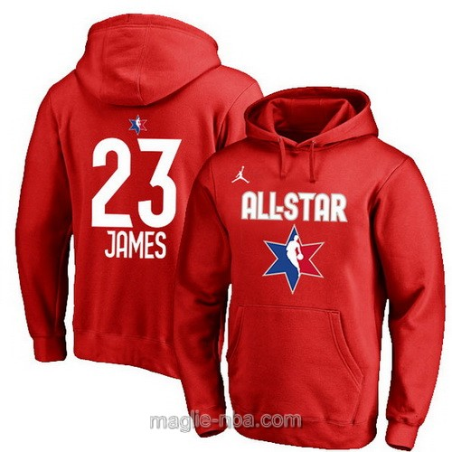 Felpa con cappuccio NBA all star game 2020 #23 Lebron James rosso