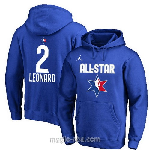 Felpa con cappuccio NBA all star game 2020 #2 Kawhi Leonard blu