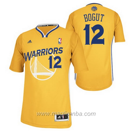 Maglia 2015 maniche Swingman Andrew Bogut #12 giallo Golden State Warriors