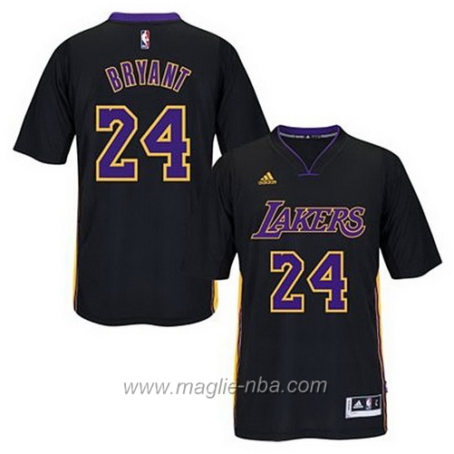 Maglia 2015 maniche Swingman Kobe Bryant #24 nero Los Angeles Lakers