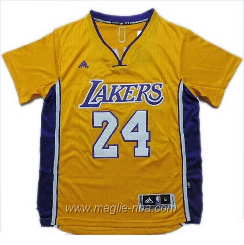 Maglia 2015 maniche Swingman Kobe Bryant #24 giallo Los Angeles Lakers