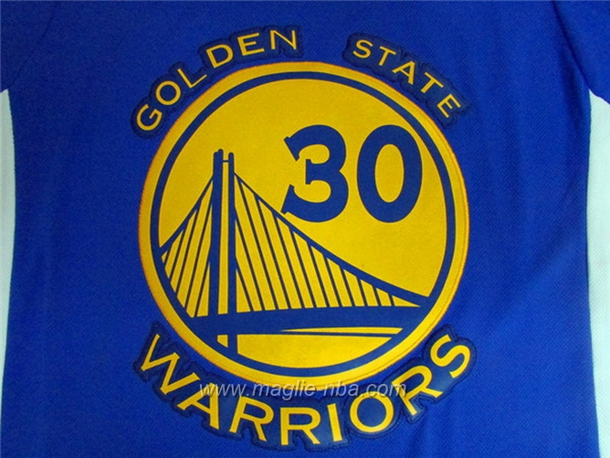 Maglia 2015 maniche Swingman Stephen Curry #30 blu Golden State Warriors