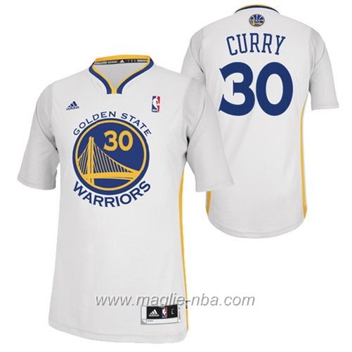 Maglia 2015 maniche Swingman Stephen Curry #30 bianco Golden State Warriors