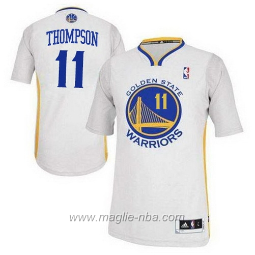 Maglia 2015 maniche Swingman Klay Thompson #11 bianco Golden State Warriors