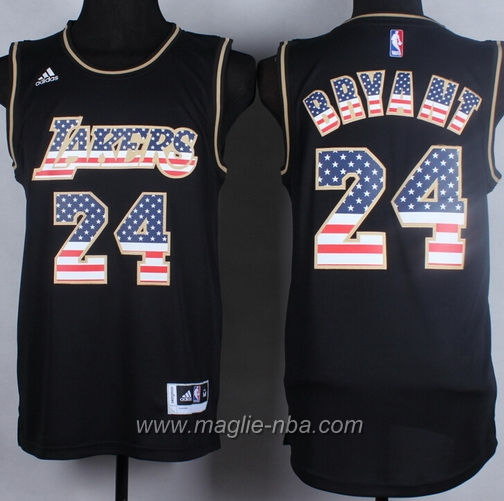 Maglia bandiera americana Swingman Kobe Bryant #24 nero Los Angeles Lakers
