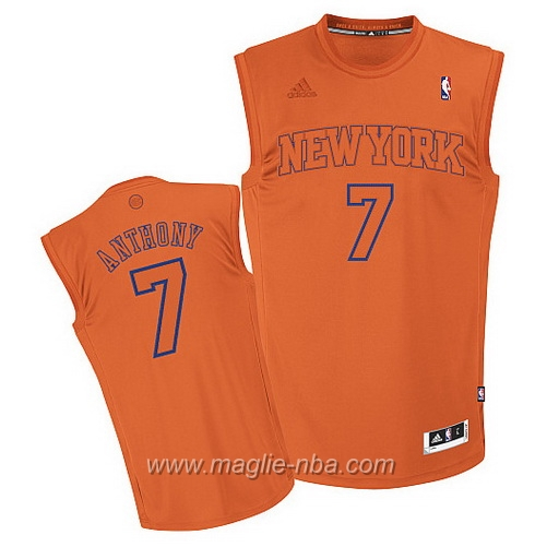 Maglia Big Color moda Swingman Carmelo Anthony #7 arancione New York Knicks