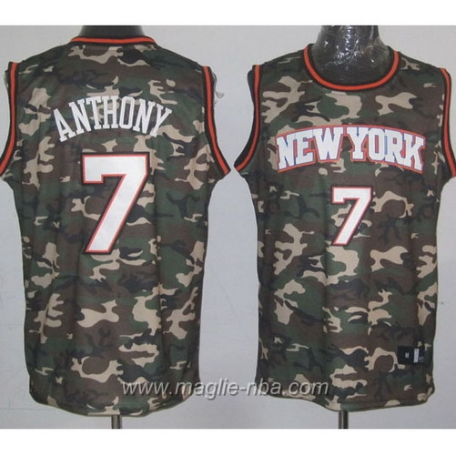 Maglia Camouflage moda Swingman Carmelo Anthony #7 New York Knicks