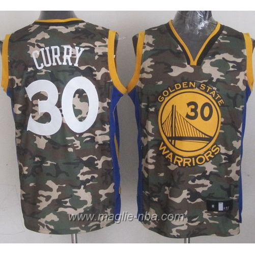 Maglia Camouflage moda Swingman Stephen Curry #30 dorato State Warriors