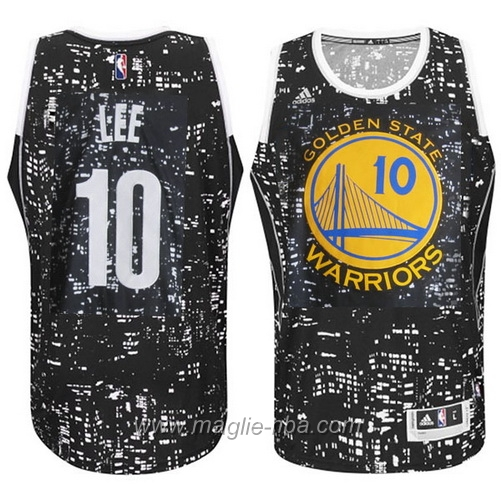 Maglia City Lights David Lee #10 nero Golden State Warriors