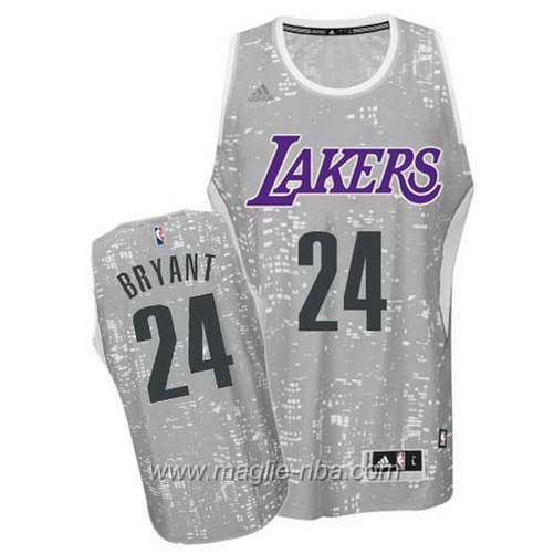 Maglia City Lights Swingman Kobe Bryant #24 grigio Los Angeles Lakers