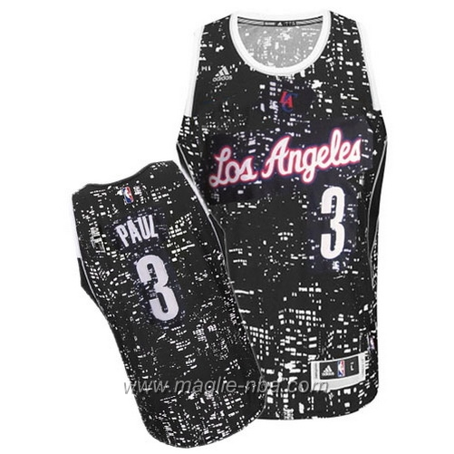 Maglia City Lights Swingman Chris Paul #3 nero Los Angeles Clippers