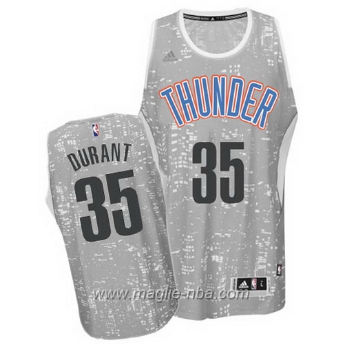 Maglia City Lights Swingman Kevin Durant #35 grigio Oklahoma City Thunder