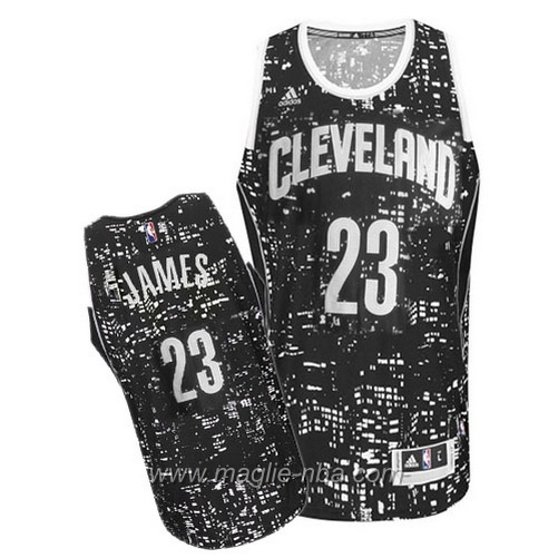 Maglia City Lights Swingman LeBron James #23 nero Cleveland Cavaliers