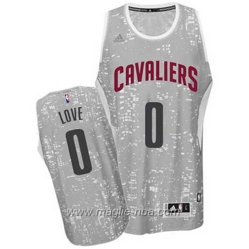 Maglia City Lights Swingman Kevin Love #0 grigio Cleveland Cavaliers