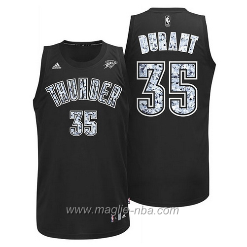 Maglia diamanti Swingman Kevin Durant #35 nero Oklahoma City Thunder