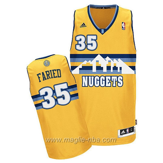 Maglia Kenneth Faried #35 giallo Denver Nuggets
