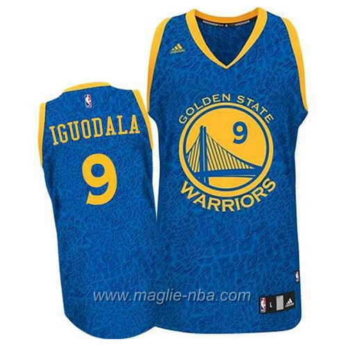 Maglia Leopard luce Swingman Iguodala #9 blu Golden State Warriors