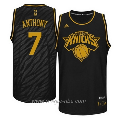 Maglia Metalli preziosi moda Swingman Carmelo Anthony #7 nero New York Knicks