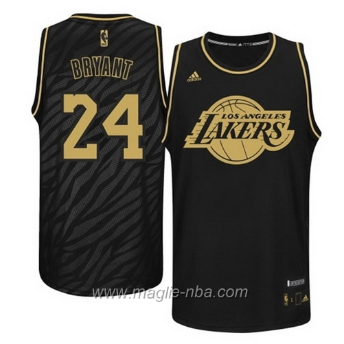 Maglia Metalli preziosi moda Swingman Kobe Bryant #24 nero Los Angeles Lakers