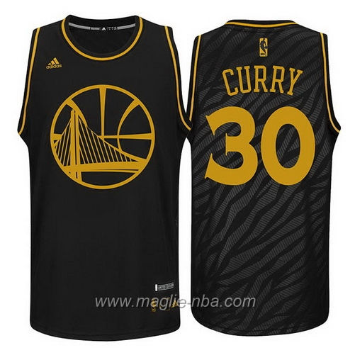 Maglia Metalli preziosi moda Swingman Stephen Curry #30 nero Golden State Warriors