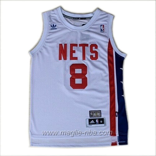 Maglia Retro ABA Deron Williams #8 bianco Brooklyn Nets