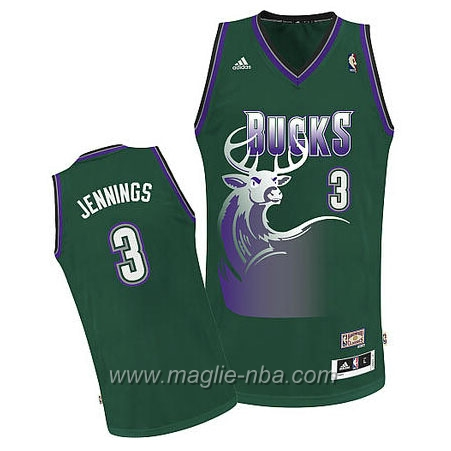 Maglia Retro Swingman Brandon Jennings #3 verde Milwaukee Bucks