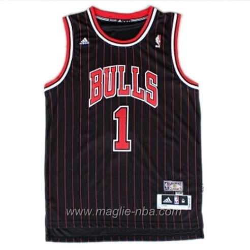 Maglia Retro Swingman Derrick Rose #1 nero Chicago Bulls
