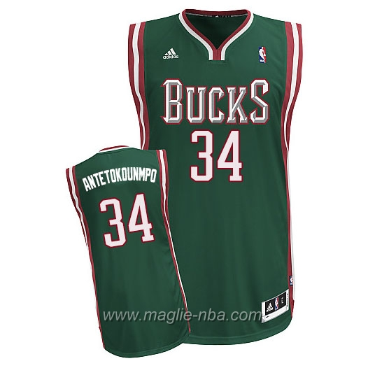 Maglia Swingman Giannis Antetokounmpo #34 verde Milwaukee Bucks
