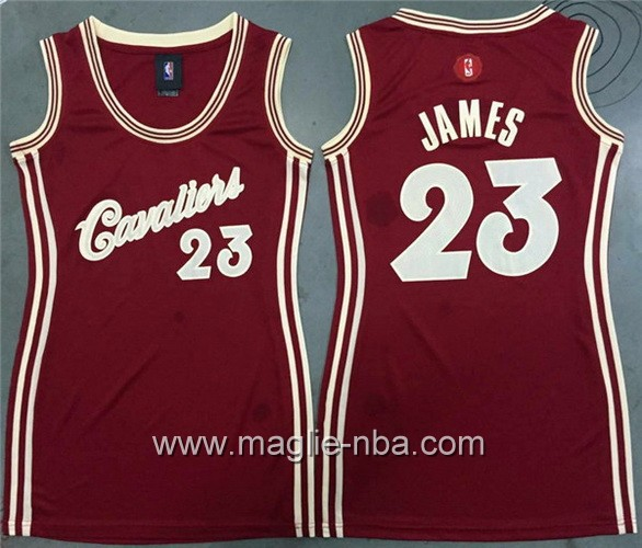 Maglia Donna Natale Cleveland Cavaliers LeBron James #23 rosso