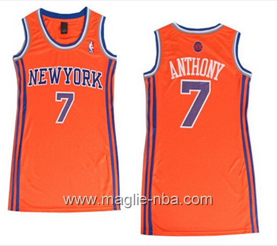 Maglia donna New York Knicks Carmelo Anthony #7 arancione