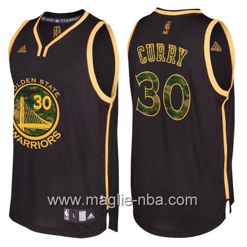 Maglia Golden State Warriors camo nero Stephen Curry #30