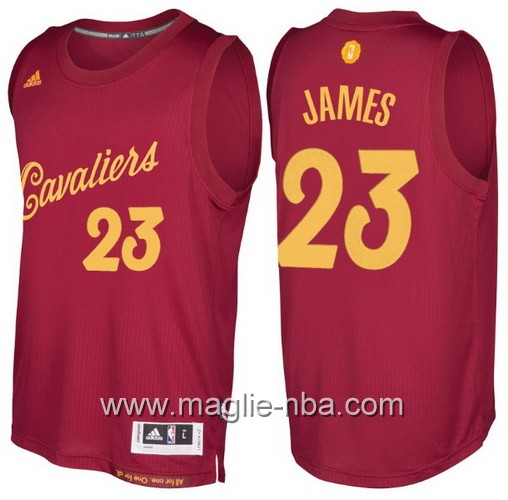 Maglia nba 2016 2017 Natale Cleveland Cavaliers LeBron James #23 rosso